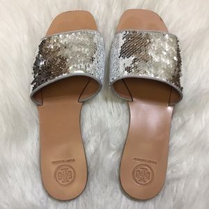 790719167 Tory Burch Shoes - Tory Burch Carter Sequin Slides Sandals 9